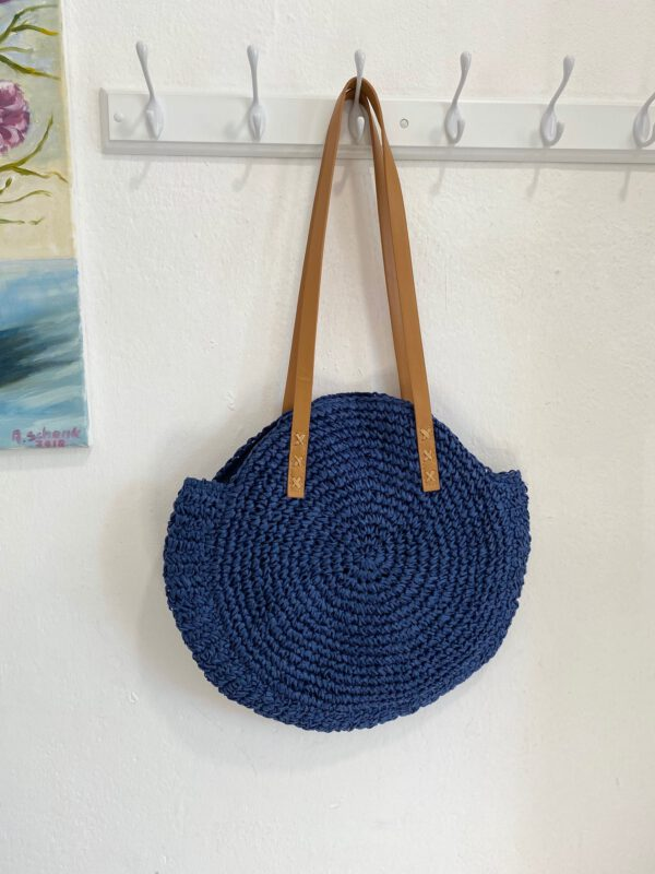 Bolso Redondo Rafia Azul 1