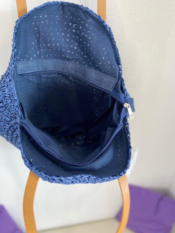 Bolso Redondo Rafia Azul 2