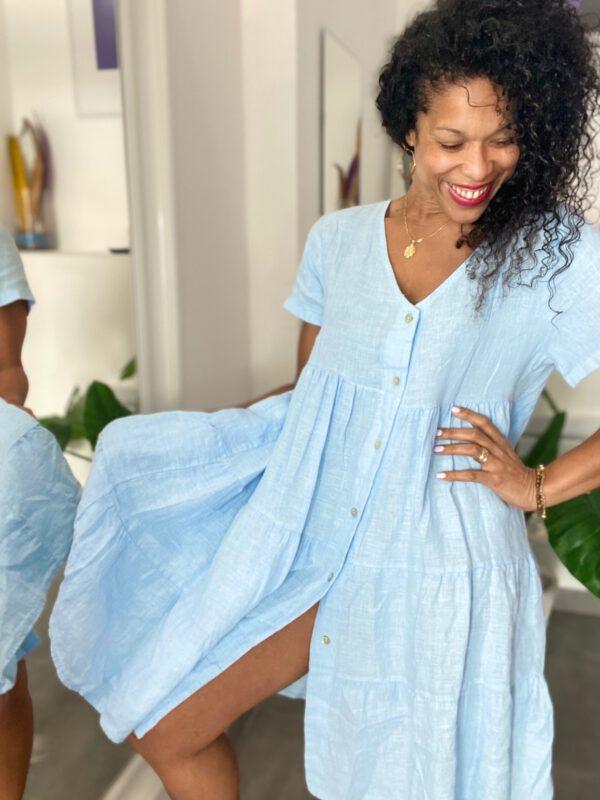 Vestido de lino corto 1
